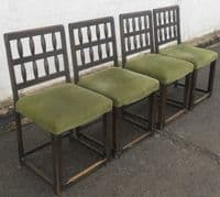 Set of Four Dark Elm Dining Chairs